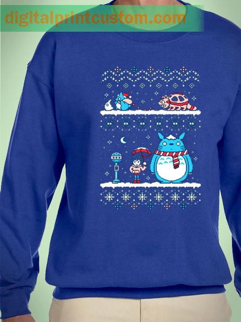 Tonari Totoro Cat Bus Ugly Christmas Unisex Sweatshirts