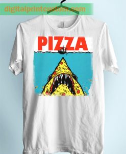 Funny Shark Jaws Pizza Unisex Adult Tshirt