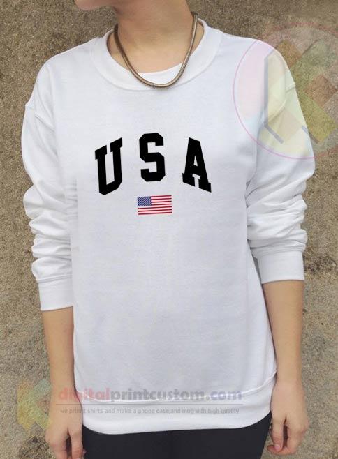 USA Flag Crewneck Sweatshirts