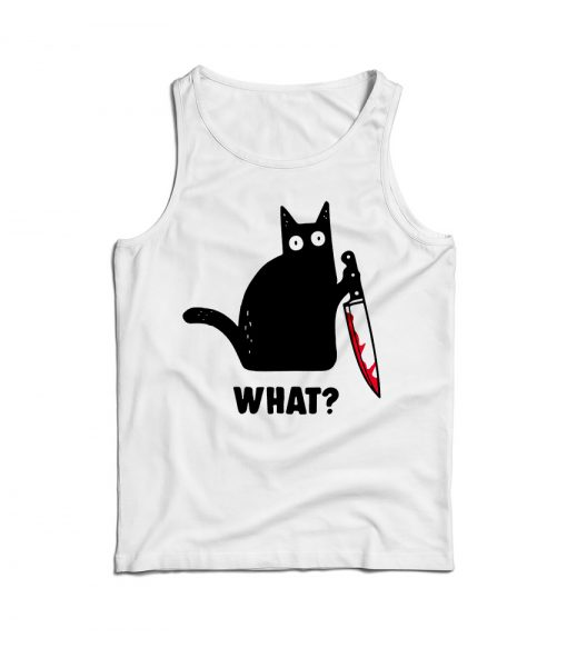 Cat What Murderous Black Cat With Knife Tank Top