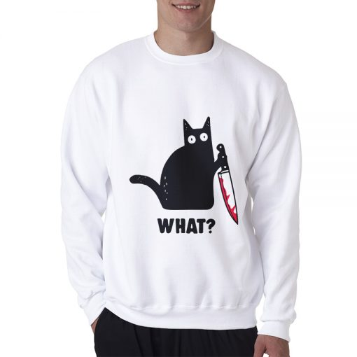Cat What Murderous Black Cat With Knife Sweatshirt